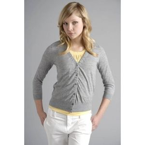 Vince. Gray Ruched Cashmere Cardigan Sweater Large
